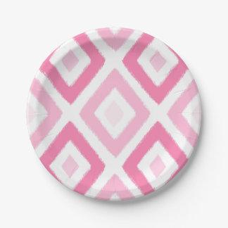 Pink Ikat Diamond Pattern Paper Plate