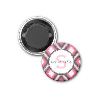 Pink Ikat Monogram 1 Inch Round Magnet