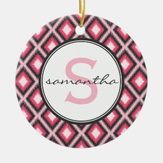Pink Ikat Monogram Ceramic Ornament