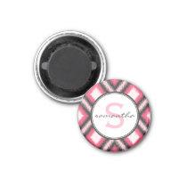 Pink Ikat Monogram Magnet
