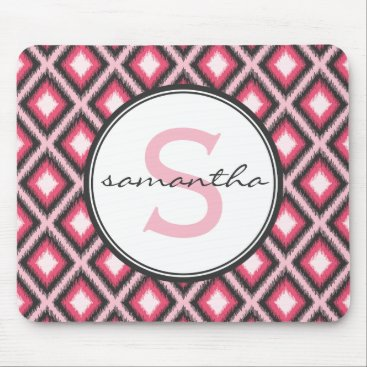 Aztec Themed Pink Ikat Monogram Mouse Pad