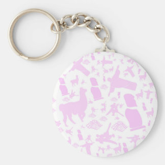 Pink images of South America Basic Round Button Keychain