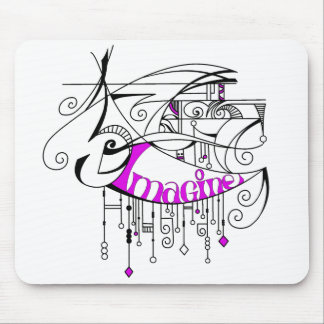 Pink Imagine In Lines and Dangles Mouse Pad