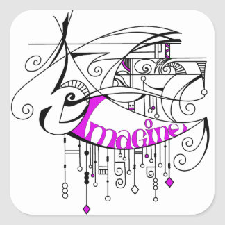 Pink Imagine In Lines and Dangles Square Sticker