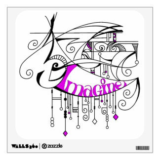 Pink Imagine In Lines and Dangles Wall Sticker