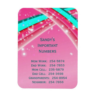 Pink Important Phone Numbers Magnet