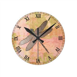 Pink Impressions Metal Dragonfly Round Wall Clocks