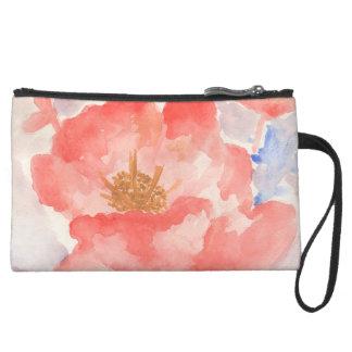 Pink in bloom watercolor flower suede wristlet wallet