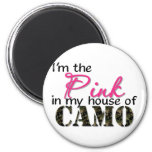 Pink In My House Of Camo 2 Inch Round Magnet