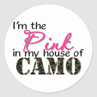 Pink In My House Of Camo Round Sticker
