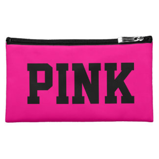 Pink in pink and black makeup bag
