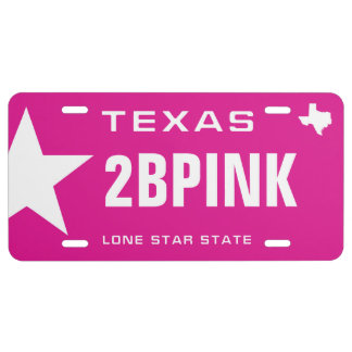 Pink in Texas License Plate