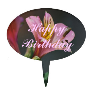 Pink Inca Lily flowers and meaning Cake Picks