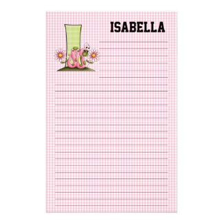 "Pink Inch Worm Mongram ""I"" Lined Stationery"