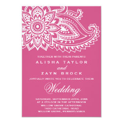 Pink Indian Paisley Wedding Invitation
