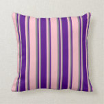 [ Thumbnail: Pink, Indigo, and Gray Colored Lined Pattern Throw Pillow ]