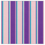 [ Thumbnail: Pink, Indigo & Dark Turquoise Colored Stripes Fabric ]