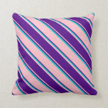 [ Thumbnail: Pink, Indigo & Dark Turquoise Colored Stripes Throw Pillow ]