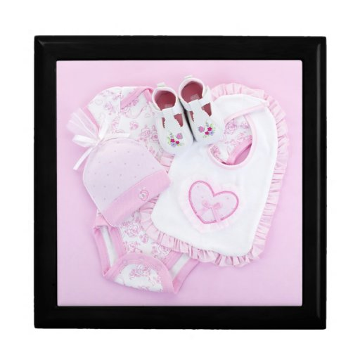 Pink infant clothes for baby shower keepsake box