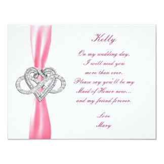 Pink Infinity Heart Maid Of Honor Card