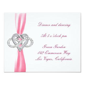 Pink Infinity Heart Wedding Reception Card Custom Invites