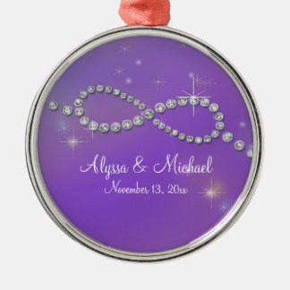 Pink Infinity Symbol Sign Infinite Love Twinkling Round Metal Christmas Ornament