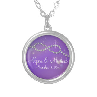 Pink Infinity Symbol Sign Infinite Love Twinkling Round Pendant Necklace