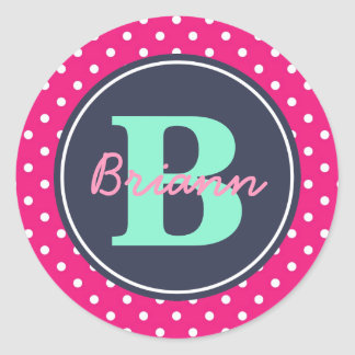 Pink Initial, and Name Sticker