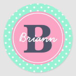 Pink Initial, and Name Stickers