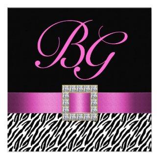 Pink Initials Zebra Stripes Wedding Invitation
