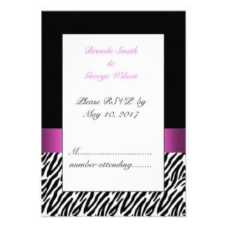 Pink Initials Zebra Stripes Wedding RSVP Invites