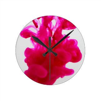 Pink Ink Drop Fine Art Photography Round Clock