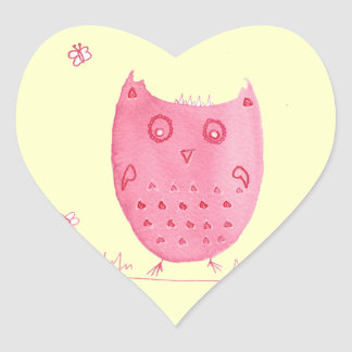 Pink Ink Owl, Eloise The Ink Owl, Watercolour Owl Heart Sticker