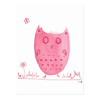 Pink Ink Owl, Eloise The Ink Owl, Watercolour Owl Postcard