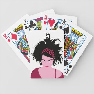 Pink Insane Girl Bicycle Playing Cards