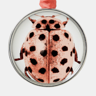 pink insect ladybird trash round metal christmas ornament