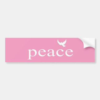 Pink Inspirational Peace Quote Car Bumper Sticker