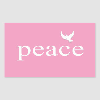 Pink Inspirational Peace Quote Rectangular Stickers