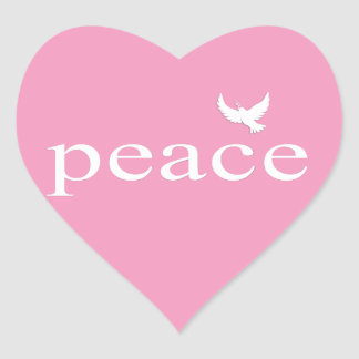Pink Inspirational Peace Quote Heart Stickers