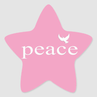 Pink Inspirational Peace Quote Star Sticker