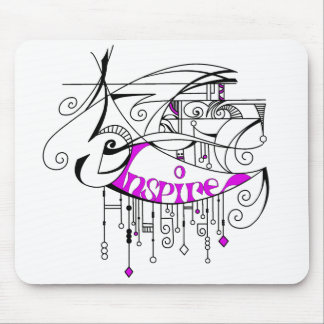 Pink Inspire In Lines and Dangles Mouse Pad