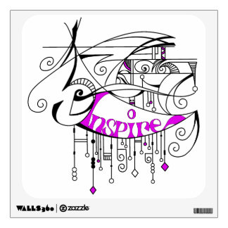 Pink Inspire In Lines and Dangles Wall Sticker
