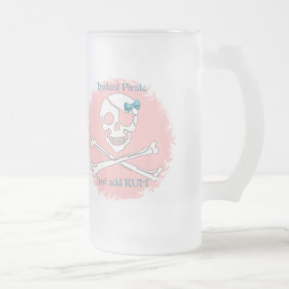 Pink Instant Pirate Frosted Glass Beer Mug