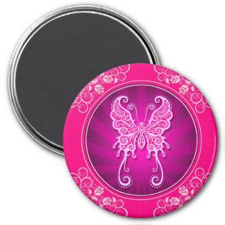 pink intricate butterfly circle.jpg fridge magnet