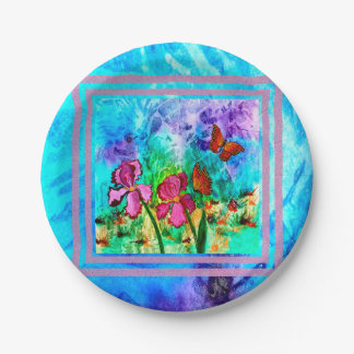 Pink Iris (Marbleized Boarder) Paper Plates 7 Inch Paper Plate