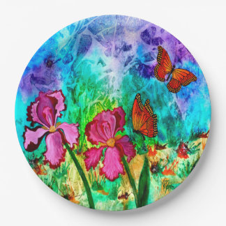 Pink Iris Paper Plate 9 Inch Paper Plate