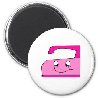 Pink Iron Cartoon. On White. 2 Inch Round Magnet