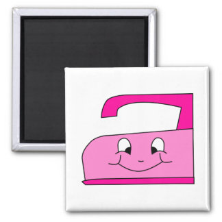 Pink Iron Cartoon. On White. 2 Inch Square Magnet