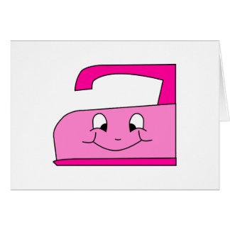Pink Iron Cartoon. On White. Card
