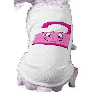 Pink Iron Cartoon. On White. Doggie Shirt